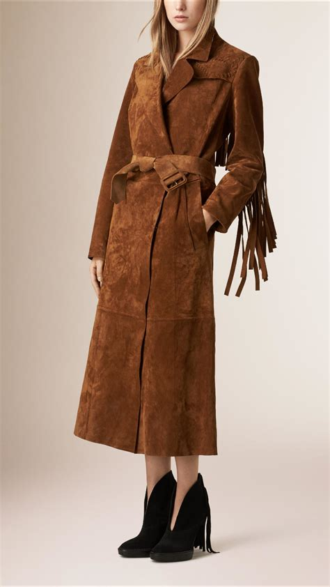 burberry brown lyst burberry fringed suede trench coat in brown