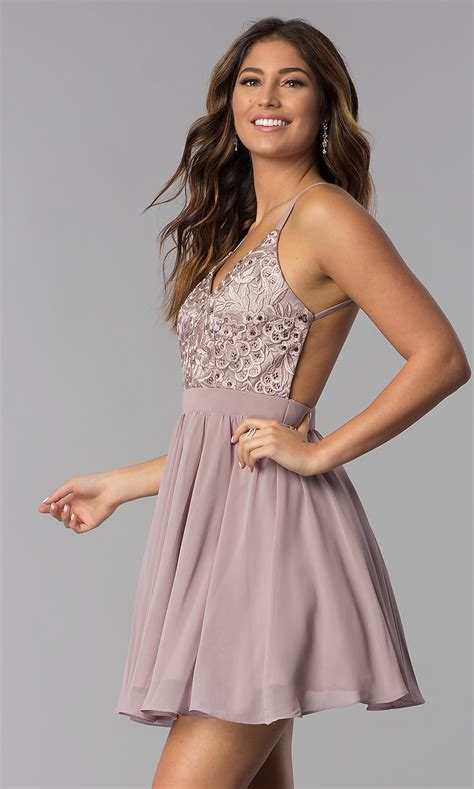 Embroidered-Bodice Homecoming Party Dress - PromGirl