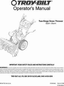 Troybilt 31as6bn2711 User Manual 2 Stage Snowthrower