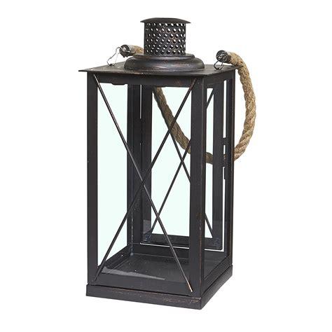 decorative outdoor lanterns decorative metal lantern w rope rubbed bronze indoor