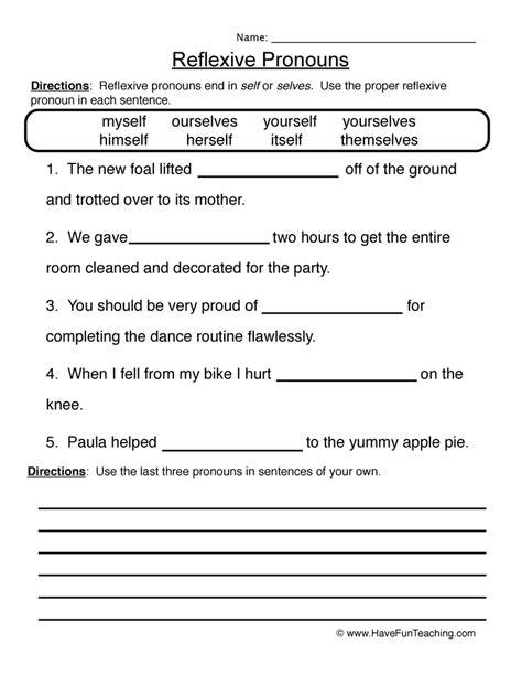 Pronoun Worksheet 4  Reflexive Pronouns