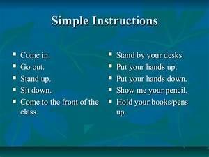 Classroom Language Simple Instructions