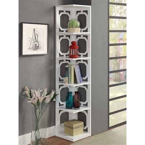 White Corner Bookcases by 5 Shelf Corner Bookcase In White 203280w
