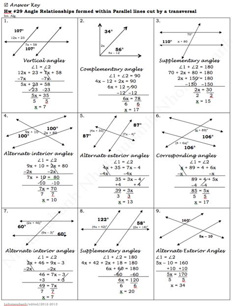 parallel lines cut by a transversal worksheet answers