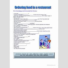 126 Free Esl Going To A Restaurant Worksheets