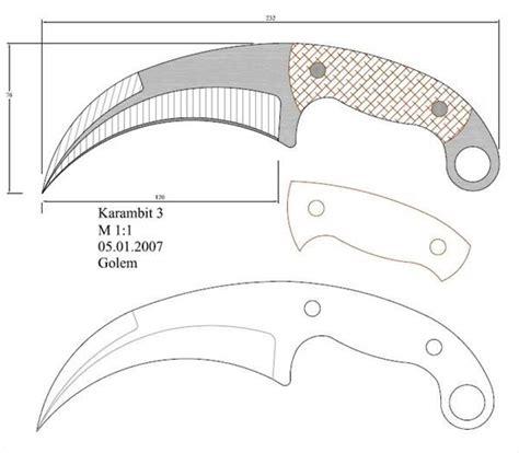 karambit template modelo 95 facas knife em escala 1 1 knives blacksmithing and blade