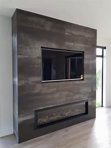 beautiful metallic look large profile tile corten steel