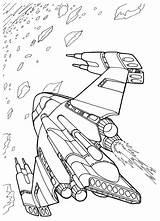 Coloring Ship Space Battle Wars Futuristic sketch template