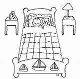 Cuarto Colorear Recamara Nino Durmiendo Pegboard Osito Varon Conejito Bedtime Dibujosa sketch template