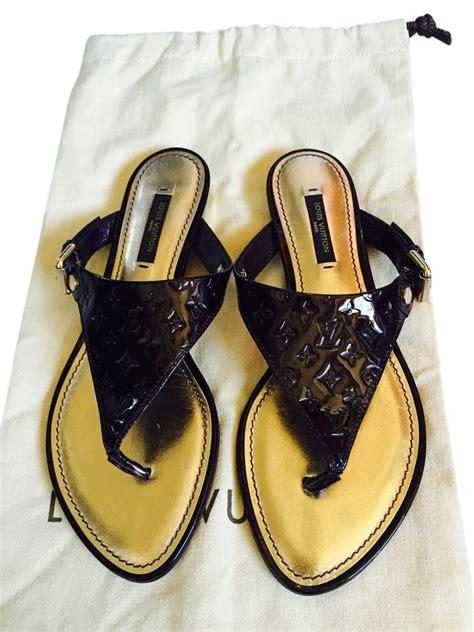 louis vuitton monogram vernis flat brown sandals sandals