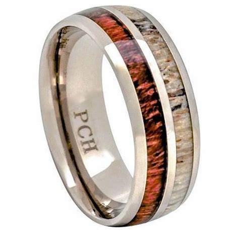 deer antler ring hawaiian koa wood titanium wedding band 8mm