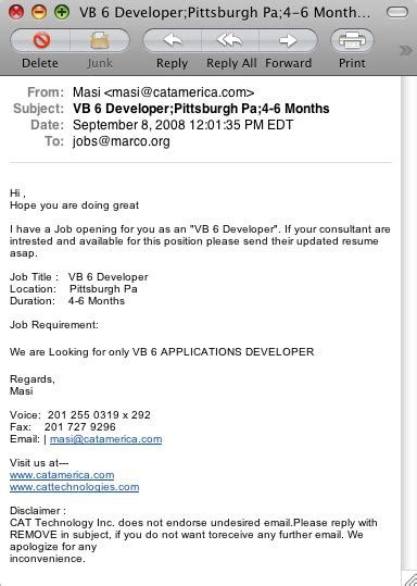 ah recruiter spam this is why it s useful to use a