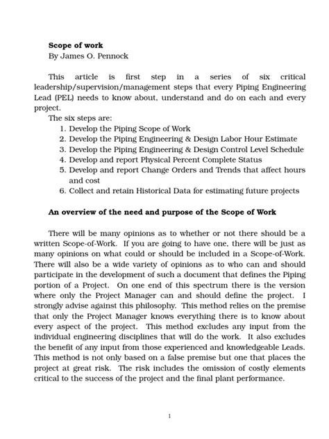 -1 Scope of Work | Specification (Technical Standard