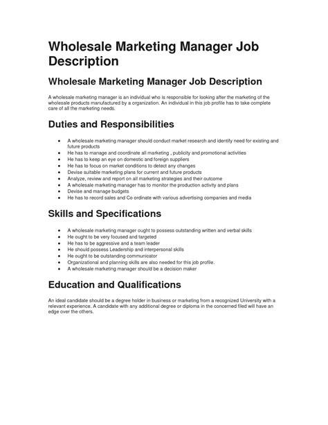 wholesale marketing manager description best sle