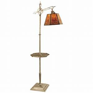 american art deco mica shade floor lamp nickel with tray With floor lamps with tray tables
