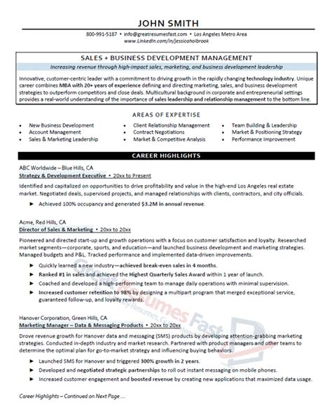Great Resumes by Executive Resume Sles Professional Resume Sles