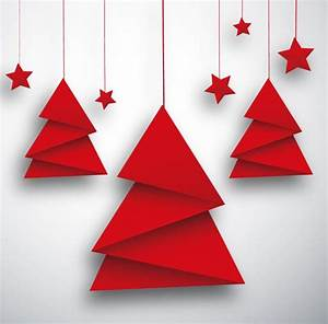 Origami Christmas Tree And Red Star Card Vector Free