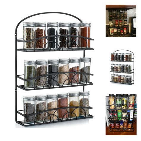 Wall Mount Spice Rack With Jars by Spice Rack Storage Kitchen Wall Mount Organizer Herbs Jars