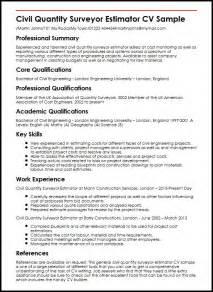 construction engineer resume description civil quantity surveyor estimator cv sle myperfectcv