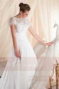 Robe Courte Mariée : robe de mariee manche courte style deesse grecque en dentelle et mousseline ~ Melissatoandfro.com Idées de Décoration