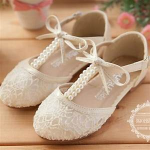 Cute Wedding Girls Shoes Lace Pearl Bow Hollow Lace-up ...