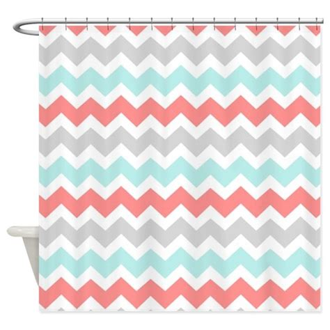 Grey And White Chevron Curtains Canada by Coral Aqua Grey White Chevron Shower Curtain By