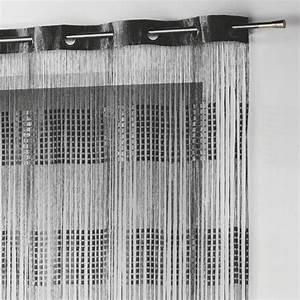 Rideau Fil Noir : rideau fils oeillets largeur 140 cm spaghetti noir rideau de porte eminza ~ Teatrodelosmanantiales.com Idées de Décoration