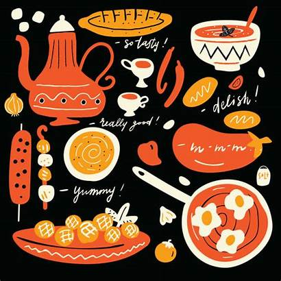 Middle Eastern Clip Vector Funny Cuisine Illustrations