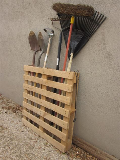 garden tool rack diy furniture projects made of whole pallets