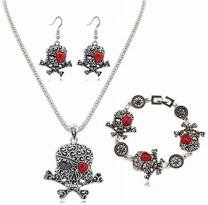 Halloween Jewelry Necklace Skull Sets Earrings Bracelet