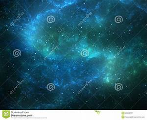 Night Sky With Stars And Green Nebula Stock Illustration ...