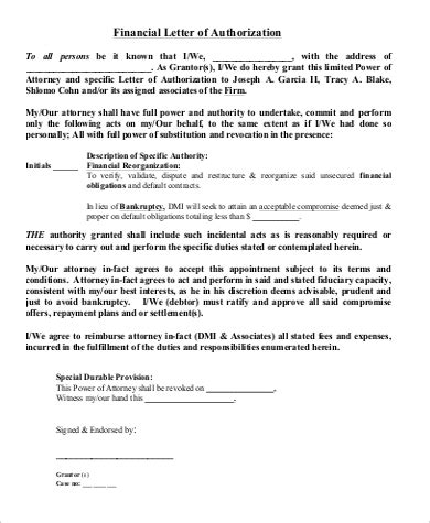 examples  authorization letter  word pages