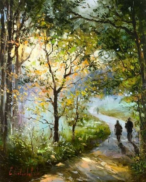 woods couple walking painting surrealism painting art