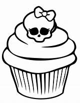 Coloring Monster Pages Cupcake Skull Printable Birthday Cupcakes Cute Skullette Pretty Happy Adult Cake Cup sketch template