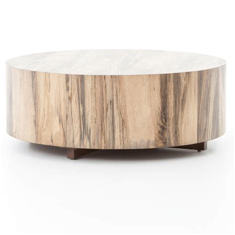 By helping you maximize every square inch of your small space, round coffee tables give you more walking room, allowing for better traffic flow. Hudson Spalted Rustic Wood Block Round Coffee Table | Zin Home