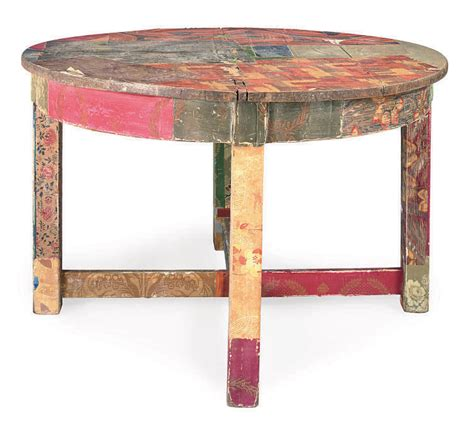wallpaper covered center table late  century
