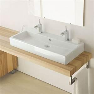 Grande Vasque À Poser : vero vasque poser 100 cm avec 2 trous de robinets ~ Melissatoandfro.com Idées de Décoration