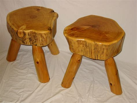 rustic white cedar log stool with exterior by fromthefortyllc - Log Stool