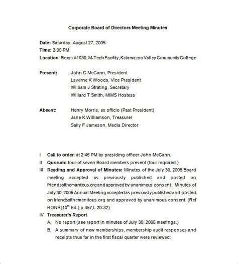 corporate meeting minutes templates corporate meeting