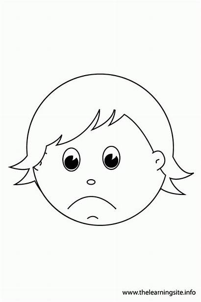 Sad Coloring Happy Face Pages Outline Faces