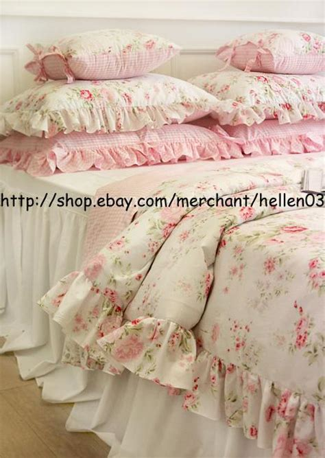 shabby chic king comforter king queen full twin princess shabby floral chic pink duvet comforter cover set ebay