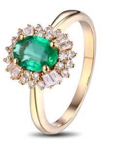 emerald gemstone engagement rings 1 carat halo gemstone green emerald and engagement ring in yellow gold jewelocean