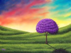 Trees with Sunset Sky Painting