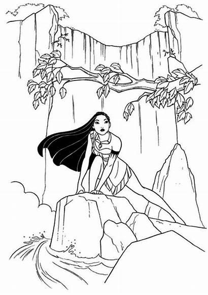 Coloring Eau Chute Waterfall Pocahontas Disney Coloriage