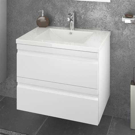 meuble sous vasque laque blanc largeur cm  tiroirs