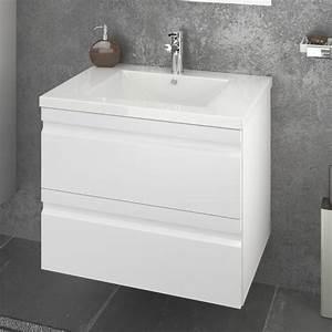 Meuble Sous Vasque Laqu Blanc Largeur 60cm 2 Tiroirs