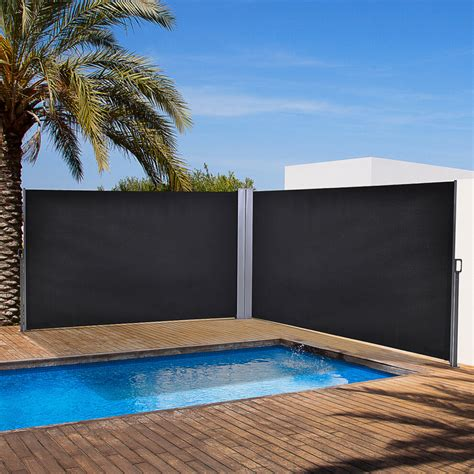outsunny retractable double side awning screen fence privacy dark grey xm  onbuy