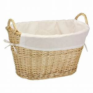 Household, Essentials, Natural, Willow, Laundry, Basket, With, Cotton, Liner