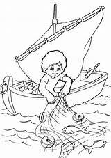 Fisherman Coloring Fishing Fish Catching Pages Nets Drawing Drawings Colouring Kid Bible Printable Sheet Boat Sketch Clip Children Coloringsky Sunday sketch template