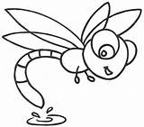 Dragonfly Coloring Pages Cute Clipart Cartoon Printable Dragonflies Drawing Simple Drawings Print Clip Animated Template Happy Yahoo Cliparts Animal Getdrawings sketch template
